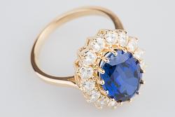 Кольцо принцессы Дианы желтое золото