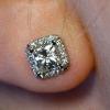 Серьги с квадратным камнем и бриллиантами 1,4 карата