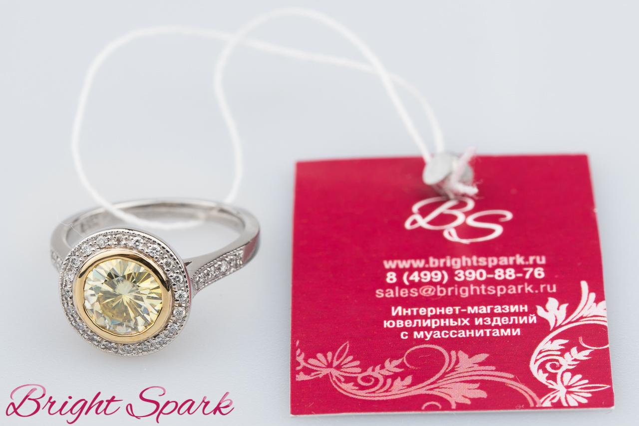 9db611c965b0 Кольцо с квадратными камнями из желтого золота – интернет-магазин Bright  Spark в Москве.