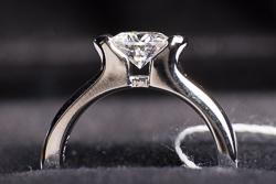 Кольцо с муассанитом в открытой оправе