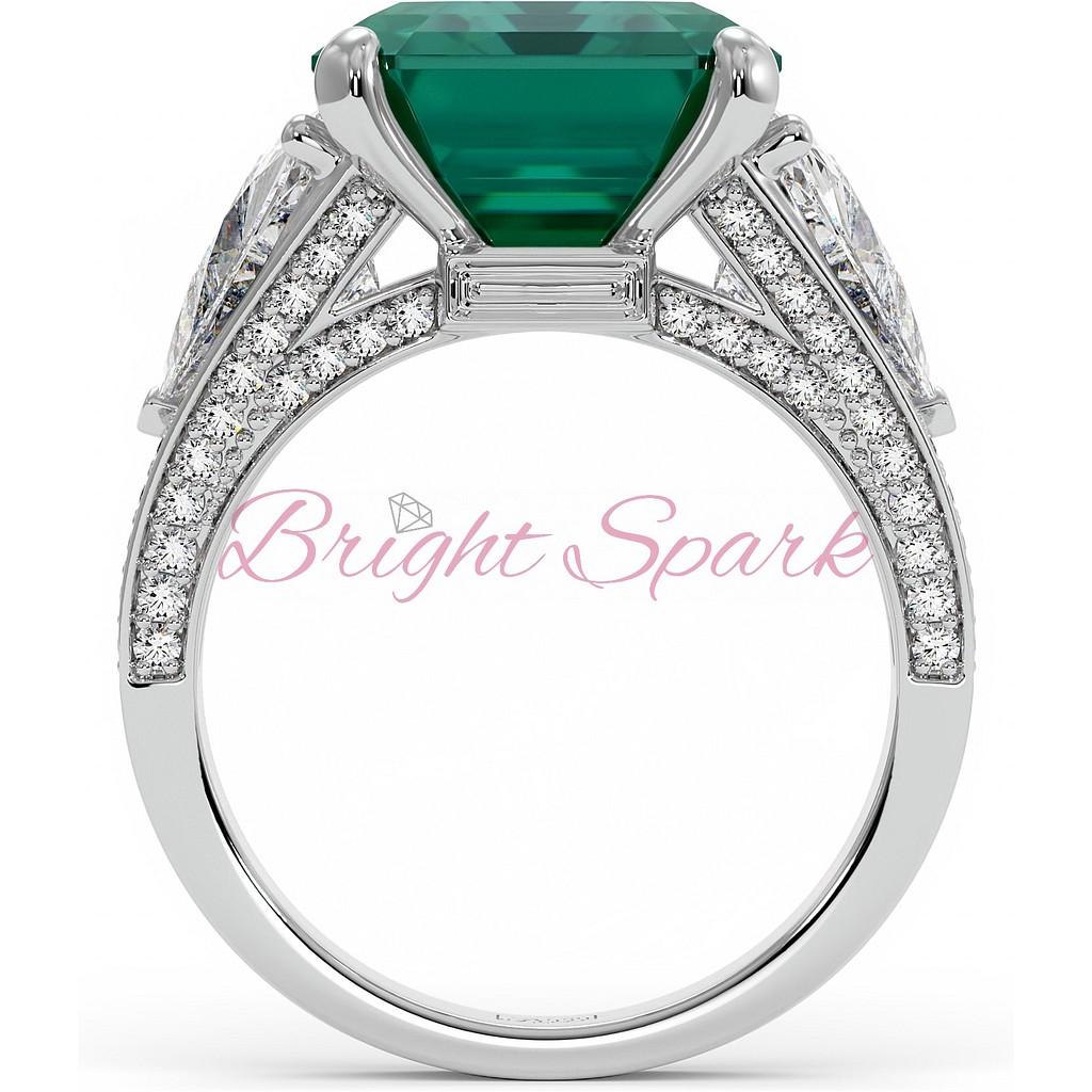 Роскошное кольцо с крупным изумрудом Luxury 14 карат