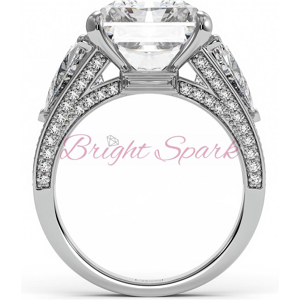 Красивое кольцо с крупным бриллиантом 8 карат огранки радиант
