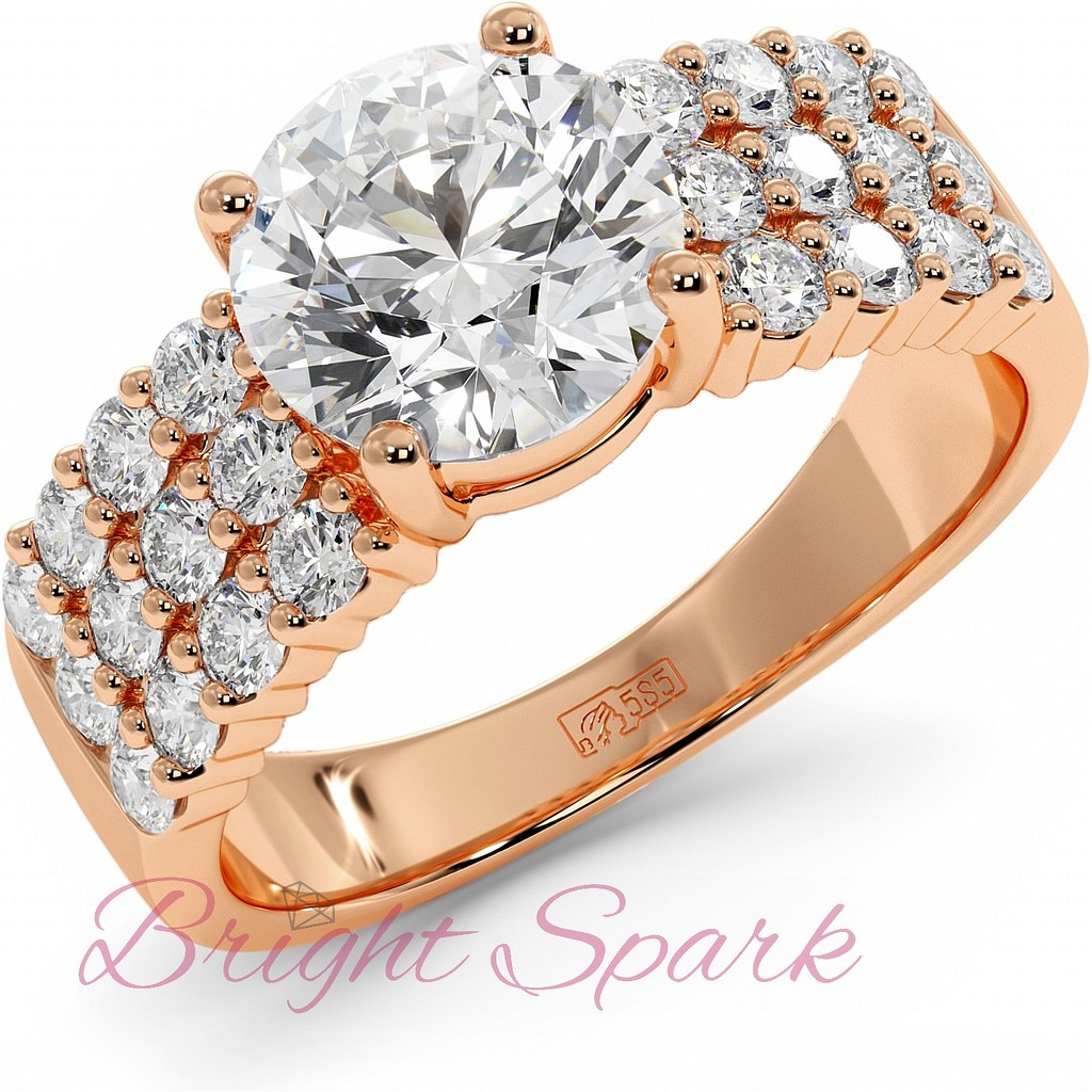 Кольцо с крупным бриллиантом 2 карата и россыпью из красного золота