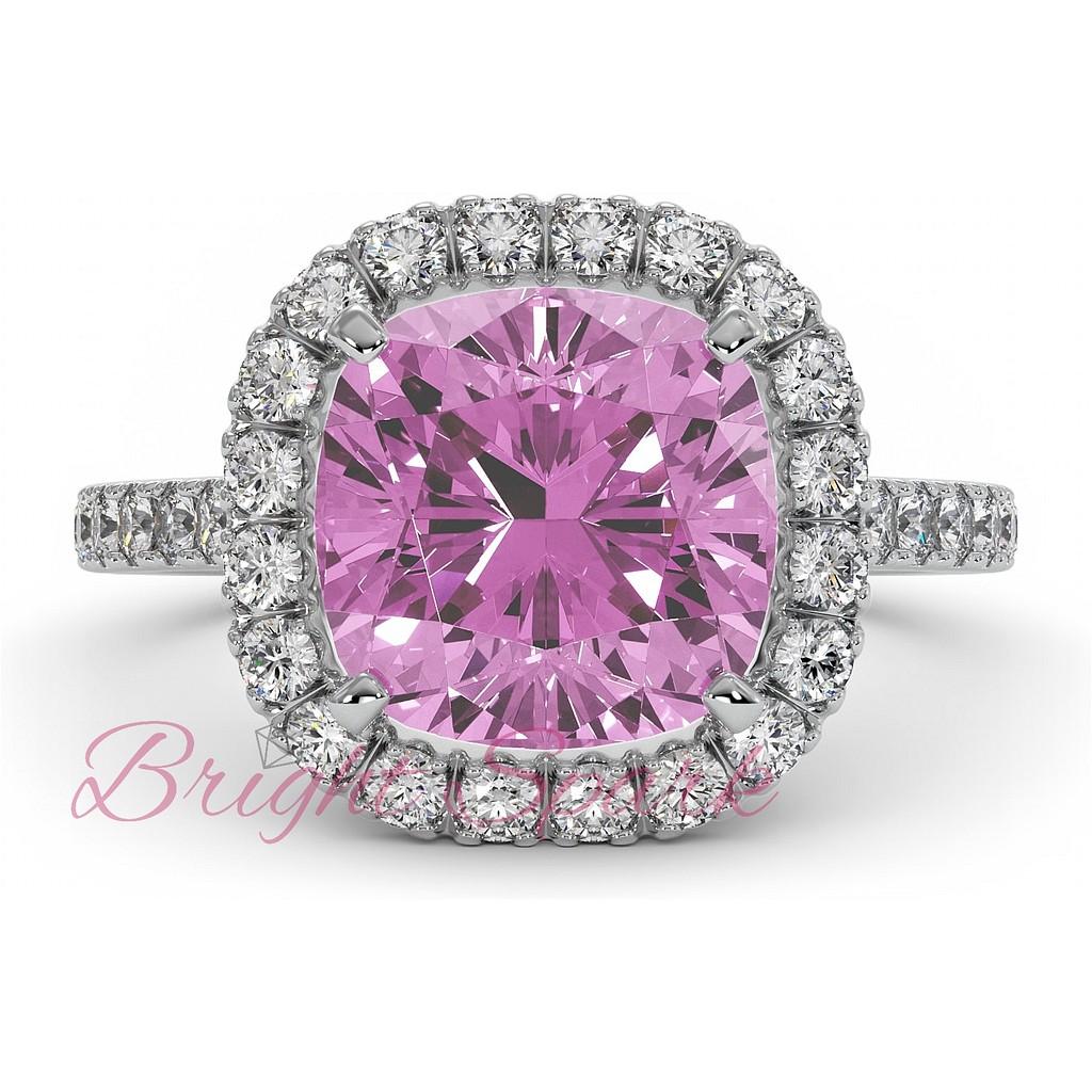 Кольцо с розовым сапфиром 5 карат и бриллиантами