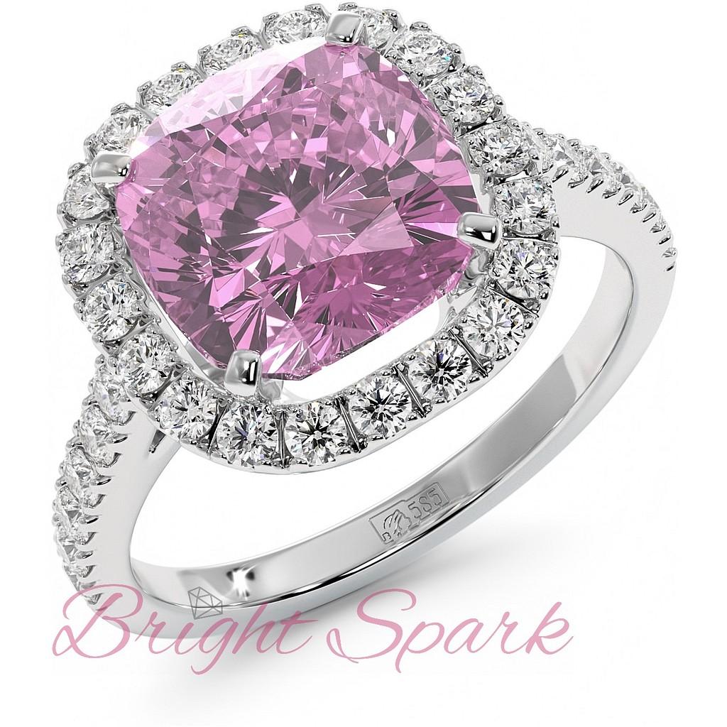 Кольцо с розовым сапфиром 5 карат