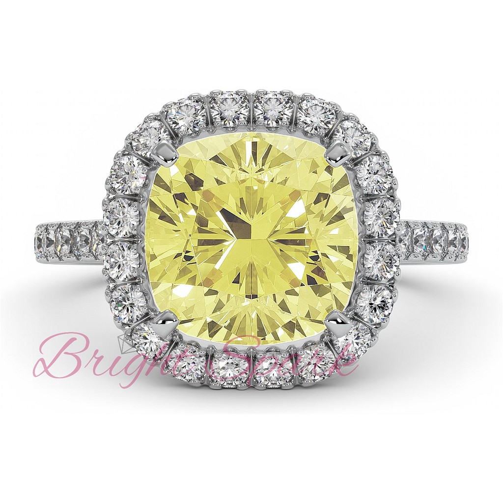 Кольцо с желтым бриллиантом кушон Fancy Intense Yellow