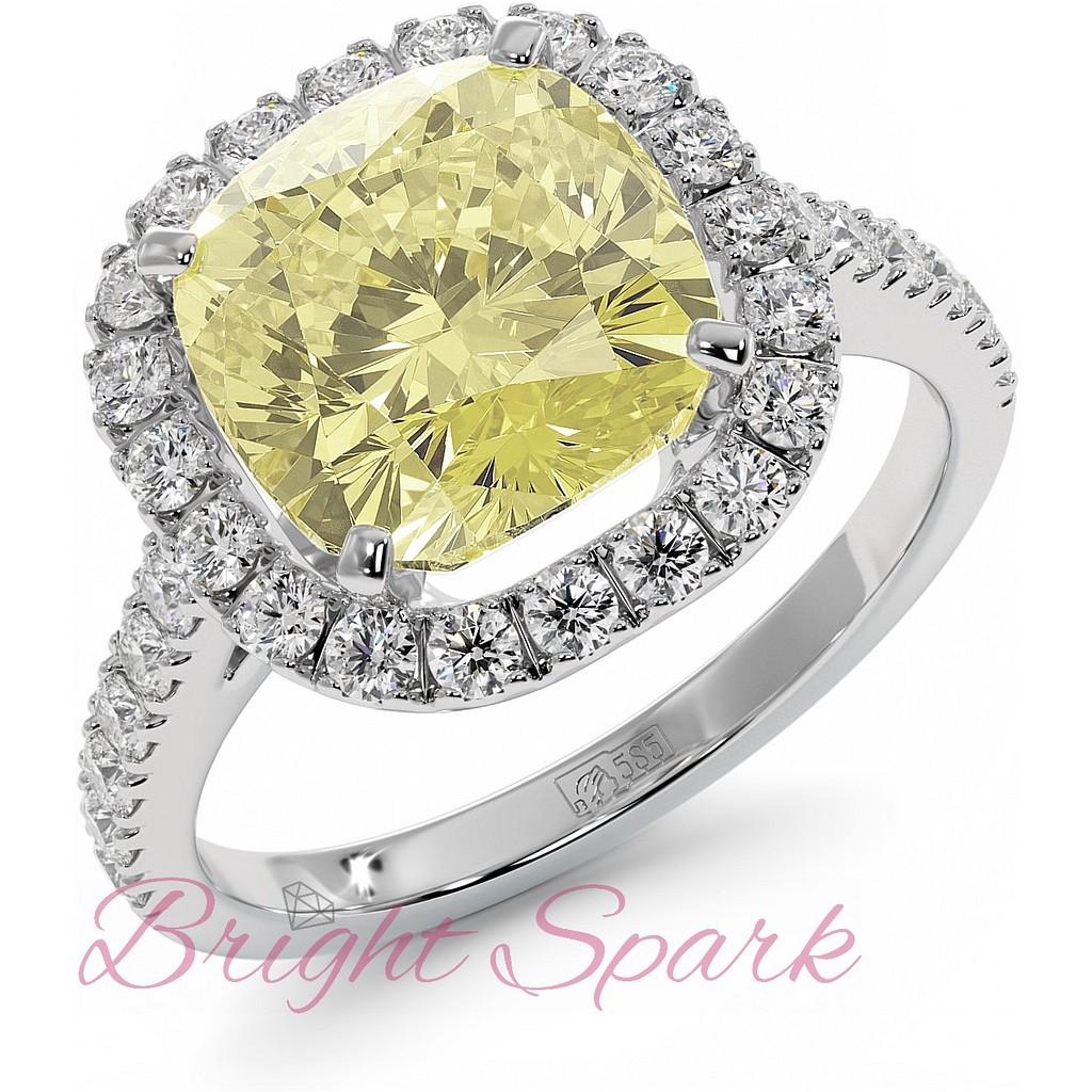 Кольцо с желтым бриллиантом 4 карата в обрамлении белых