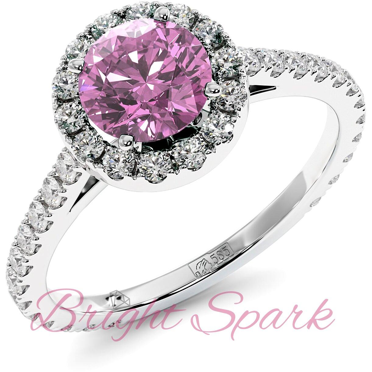 Помолвочное кольцо белого золота с розовым сапфиром 1,2 карата, ореолом и дорожкой