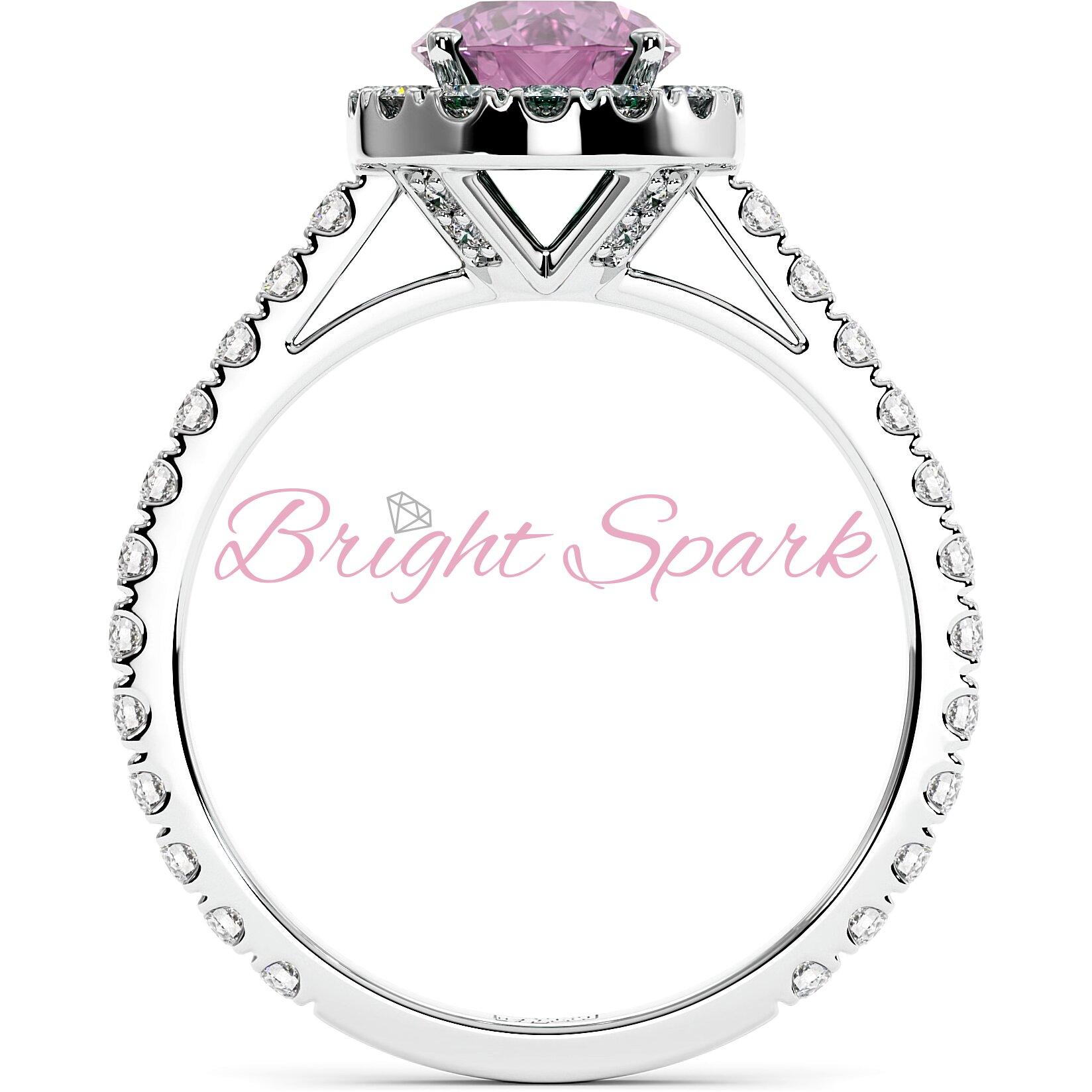 Помолвочное кольцо с розовым сапфиром 1,2 карата, ореолом и дорожкой
