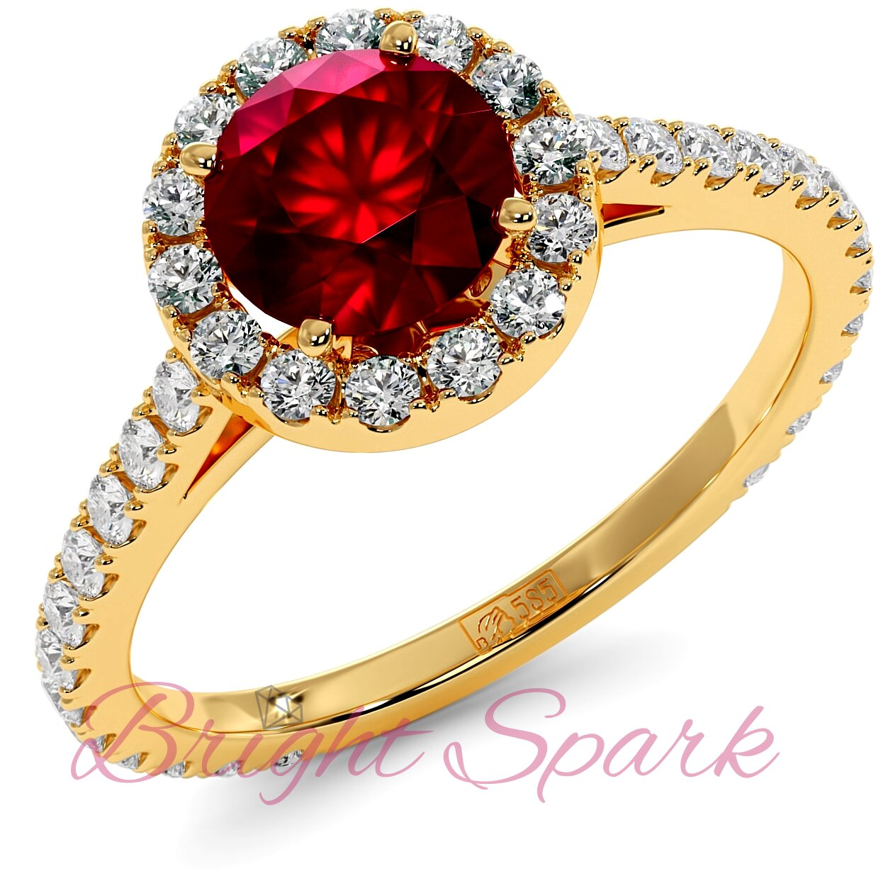 Помолвочное кольцо желтого золота с рубином 1,2 карата, ореолом и дорожкой