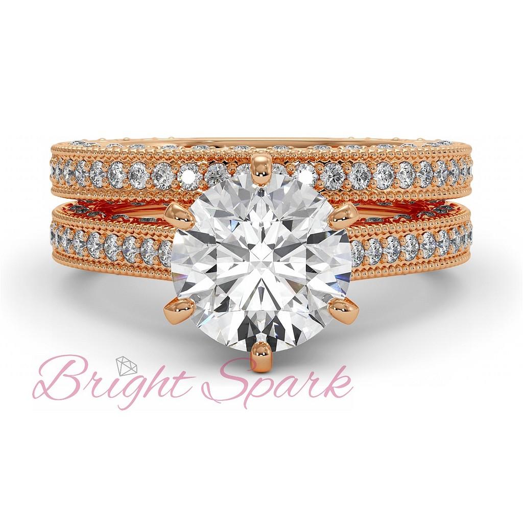 Комплект колец с дорожкой бриллиантов розовое золото