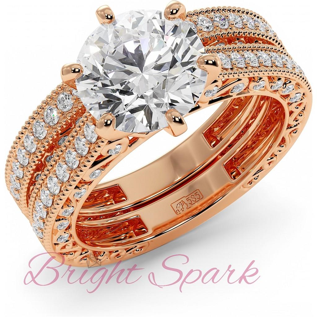 Комплект из обручального и помолвочного кольца с бриллиантом красное золото