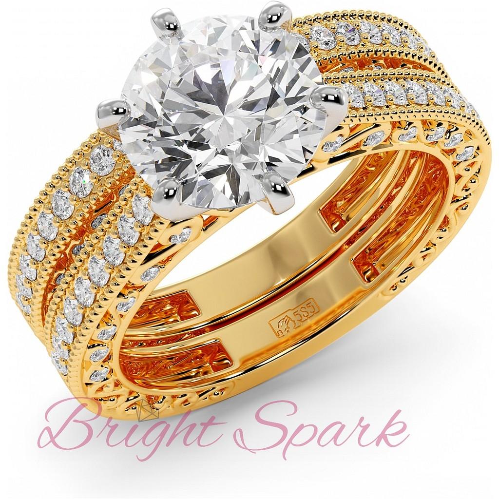 Комплект из обручального и помолвочного кольца 3 карата желтое золото