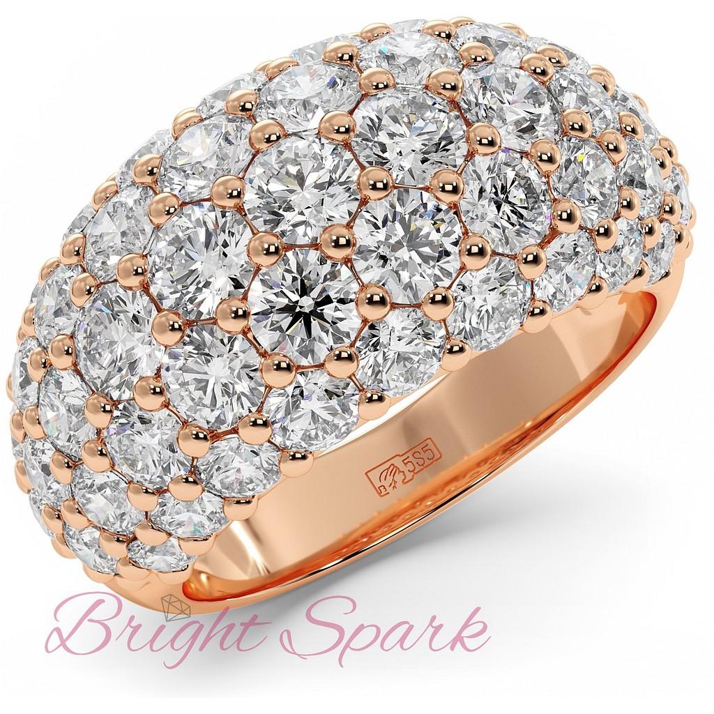 Широкое вечернее кольцо из розового золота с камнями