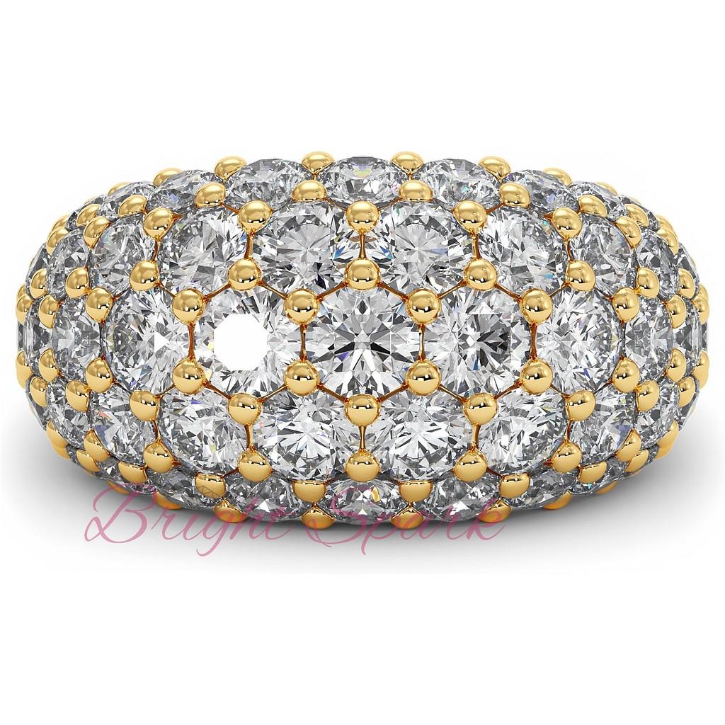 Широкое вечернее кольцо с россыпью из желтого золота