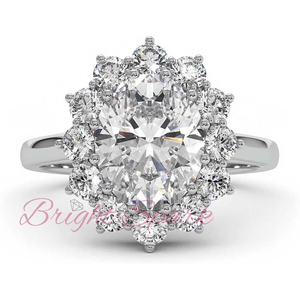 Кольцо принцессы Дианы  белое золото с белым центром