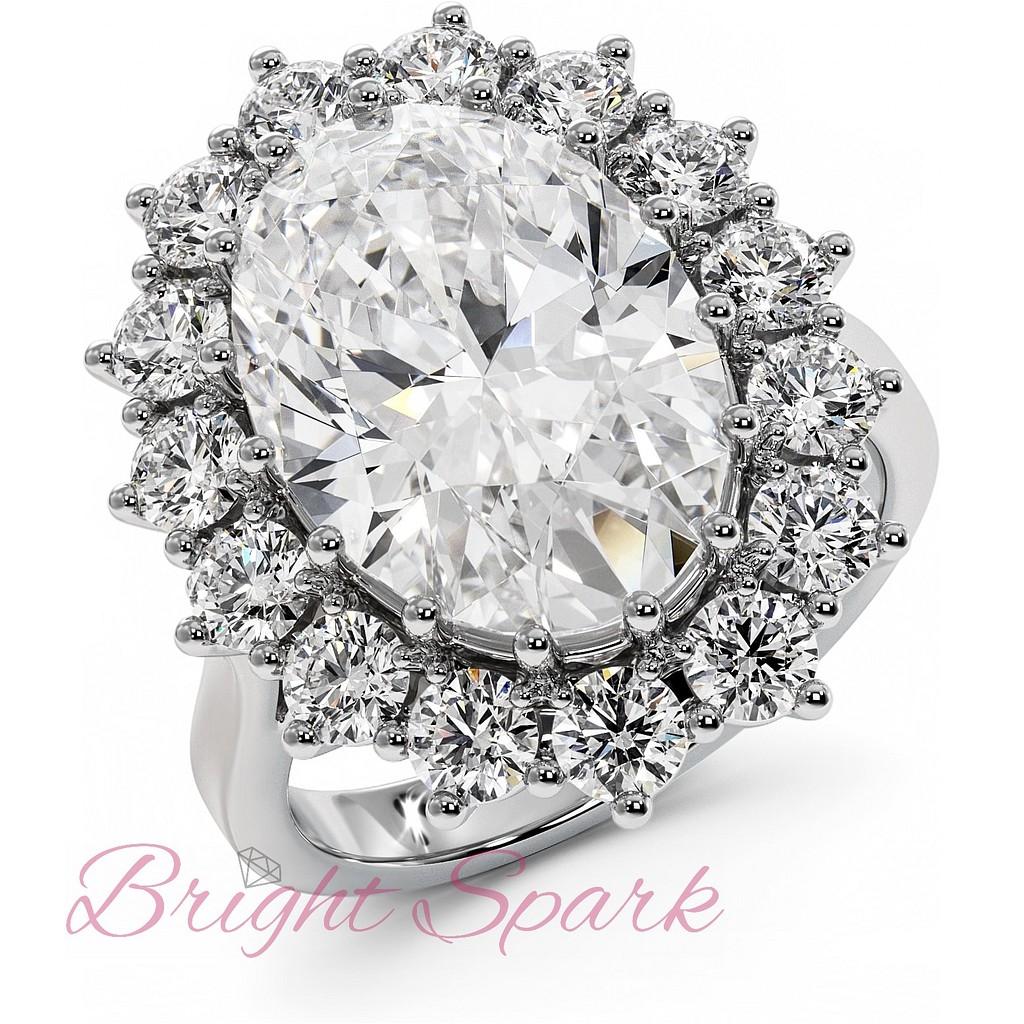 Кольцо принцессы Дианы реплика белое золото с белым центром 7,2 карата