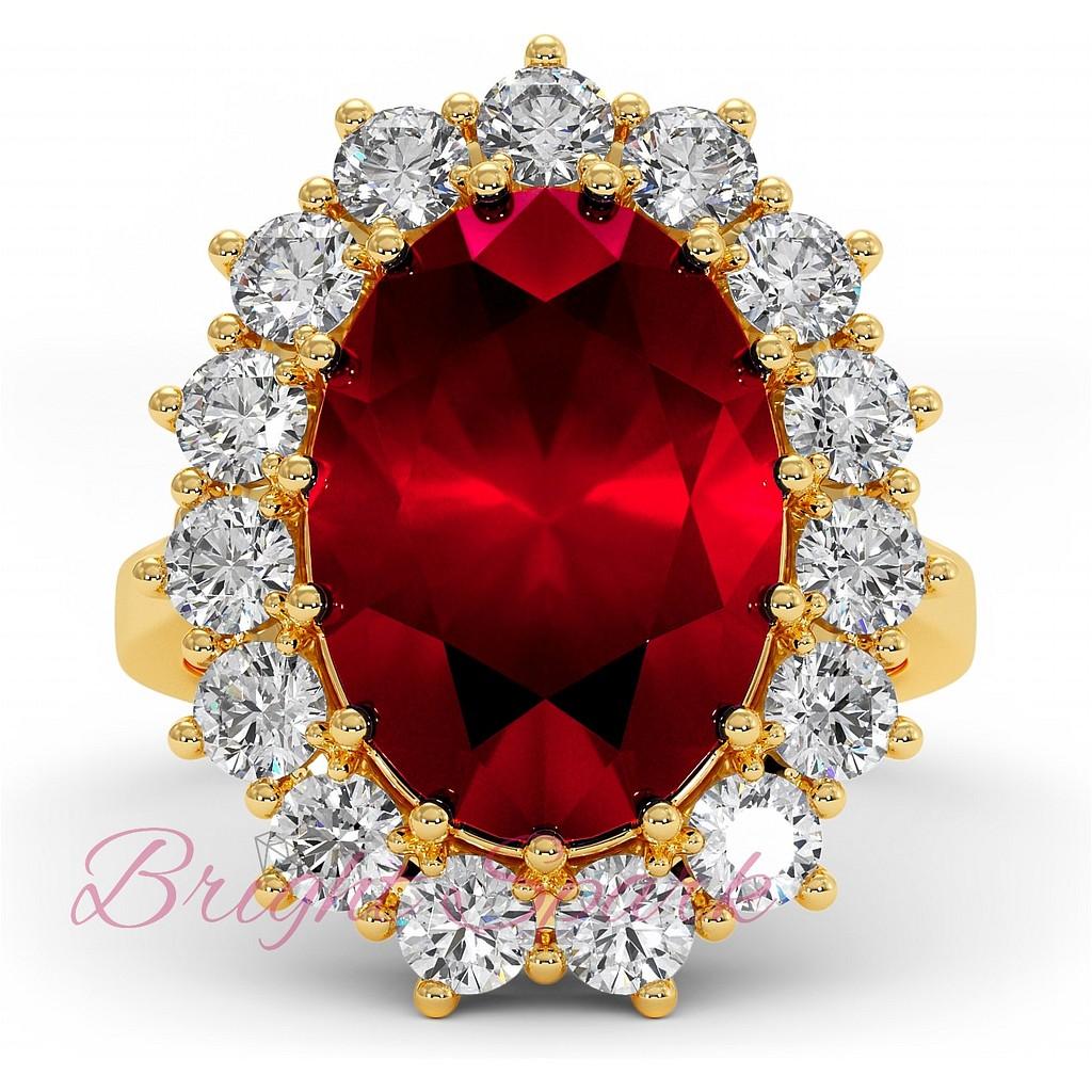 Кольцо с овальным рубином и ореолом муассанитов