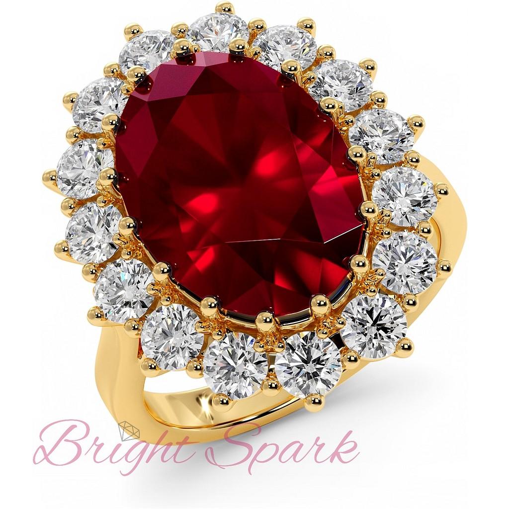 Кольцо с овальным рубином и ореолом муассанитов на 10 карата