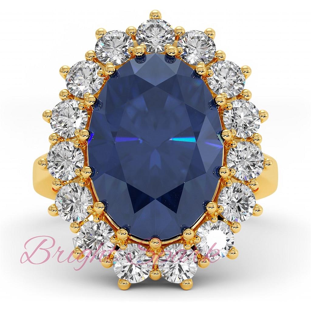 Кольцо с сапфиром и бриллиантами из желтого золота