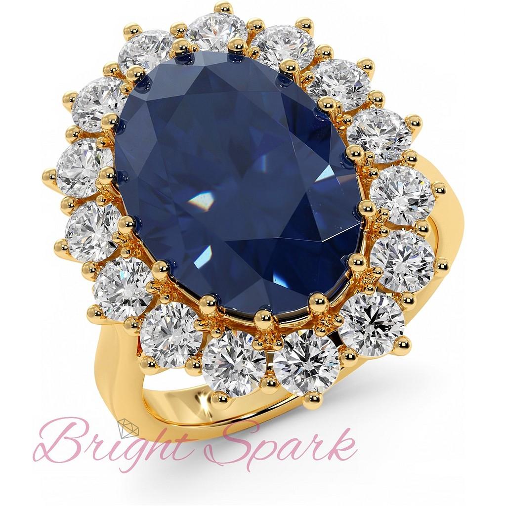 Реплика кольца принцессы Дианы с сапфиром из желтого золота