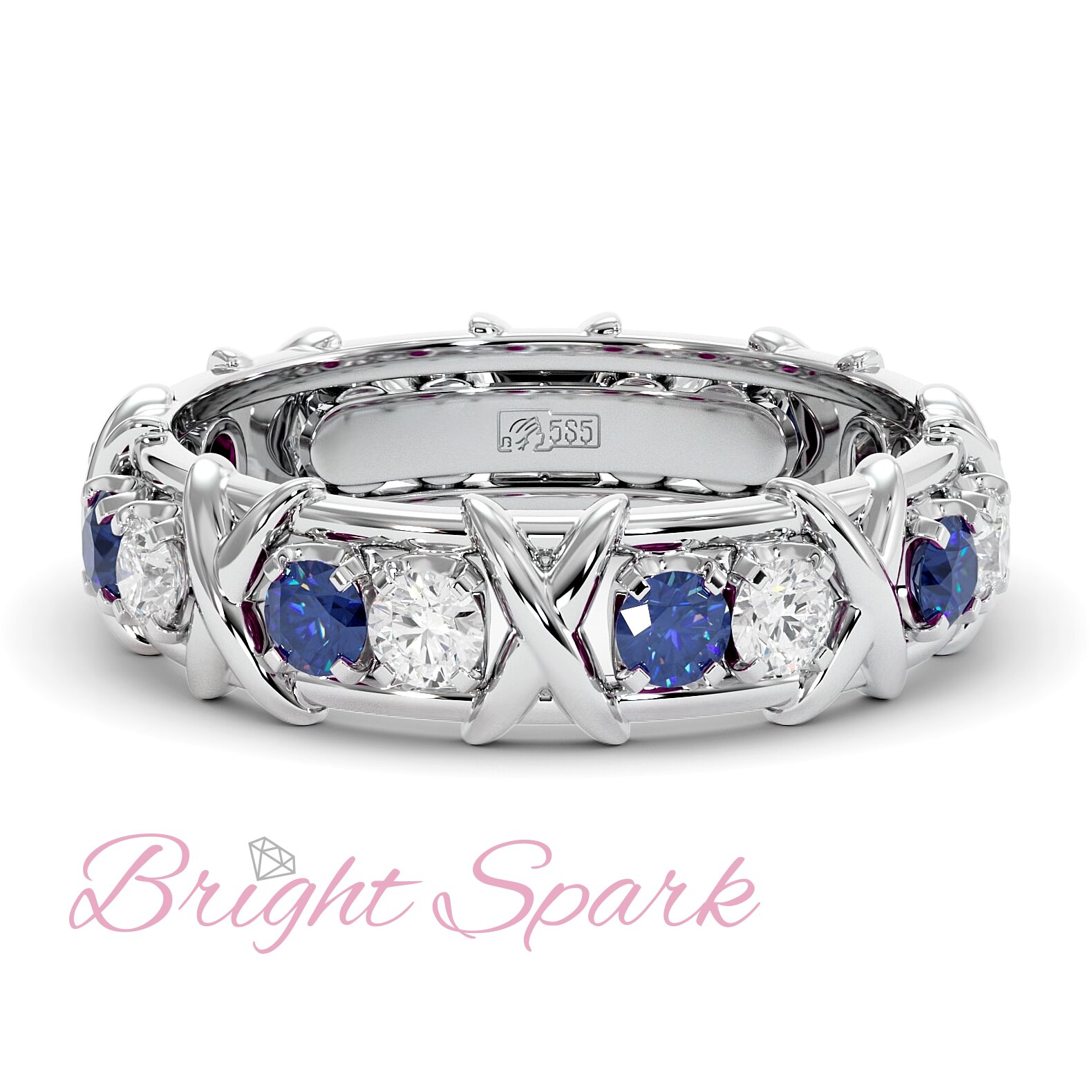 Золотое кольцо с иксами  и синими сапфирами Tiffany Sixteen Stones by Schlumberger