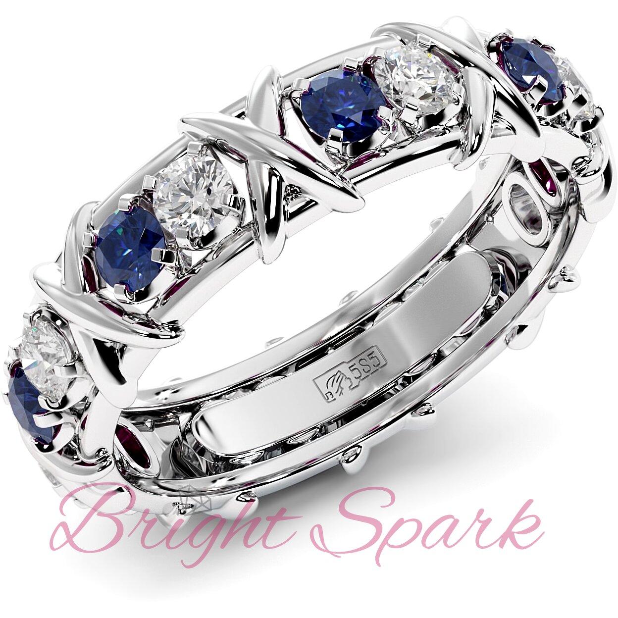 Обручальное кольцо с иксами  и синими сапфирами Tiffany Sixteen Stones by Schlumberger