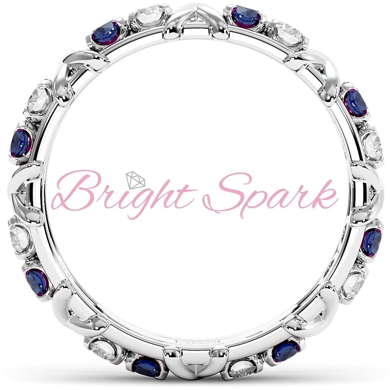 Кольцо с иксами  и синими сапфирами Tiffany Sixteen Stones by Schlumberger