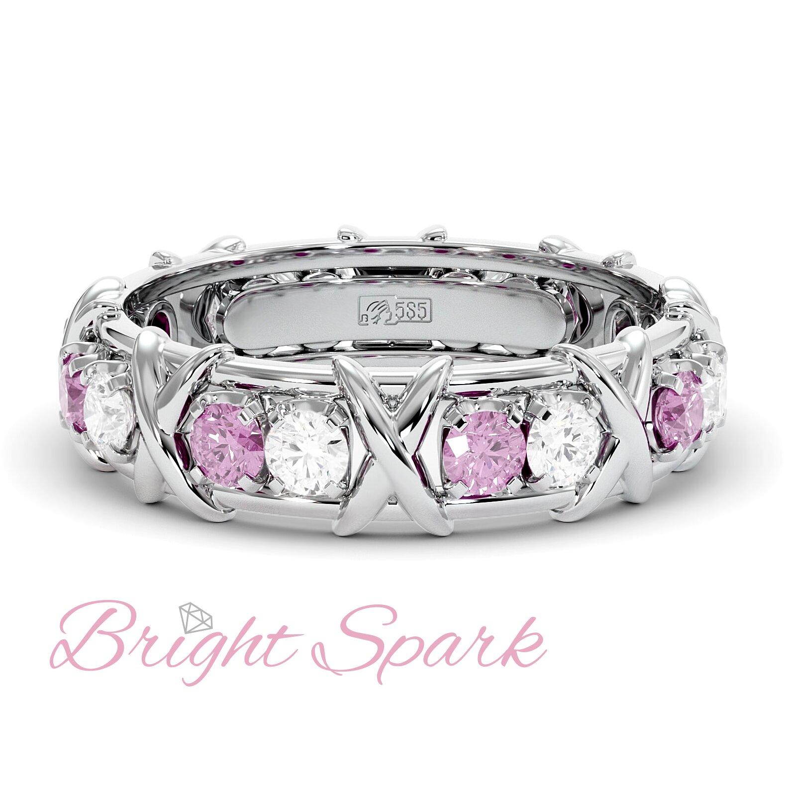 Золотое кольцо с иксами  и розовыми сапфирами Tiffany Sixteen Stones by Schlumberger