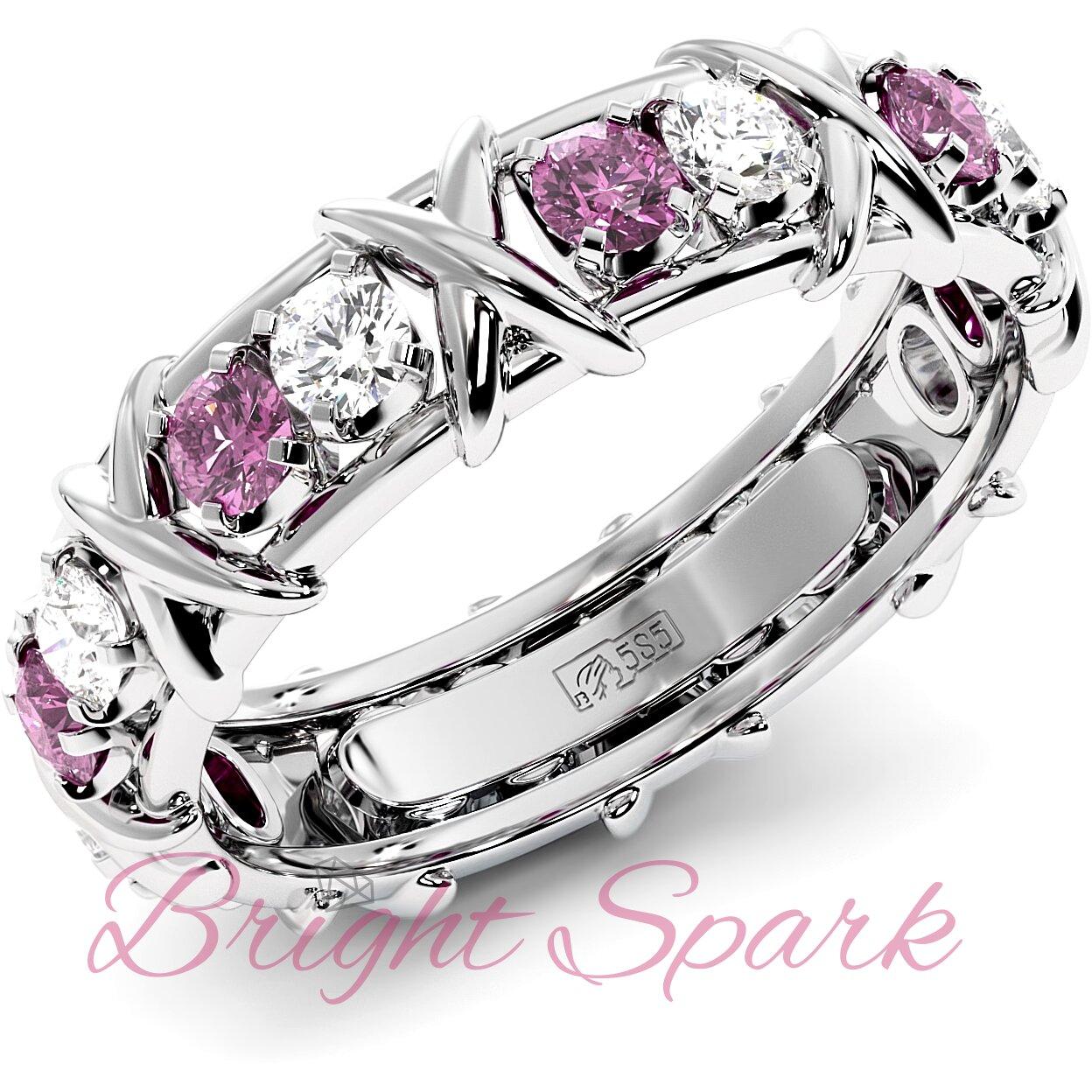 Обручальное кольцо с иксами  и розовыми сапфирами Tiffany Sixteen Stones by Schlumberger