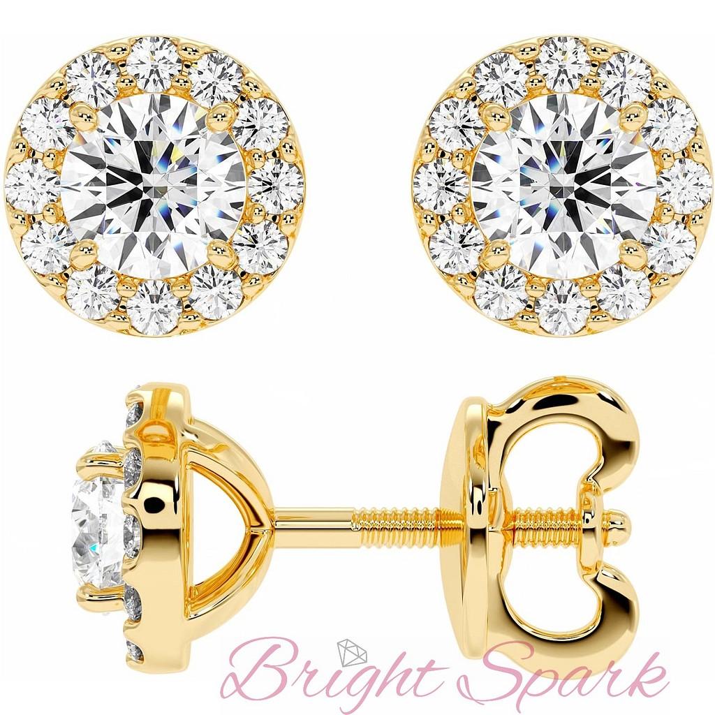 Серьги-пусеты с бриллиантом в обрамлении из желтого золота