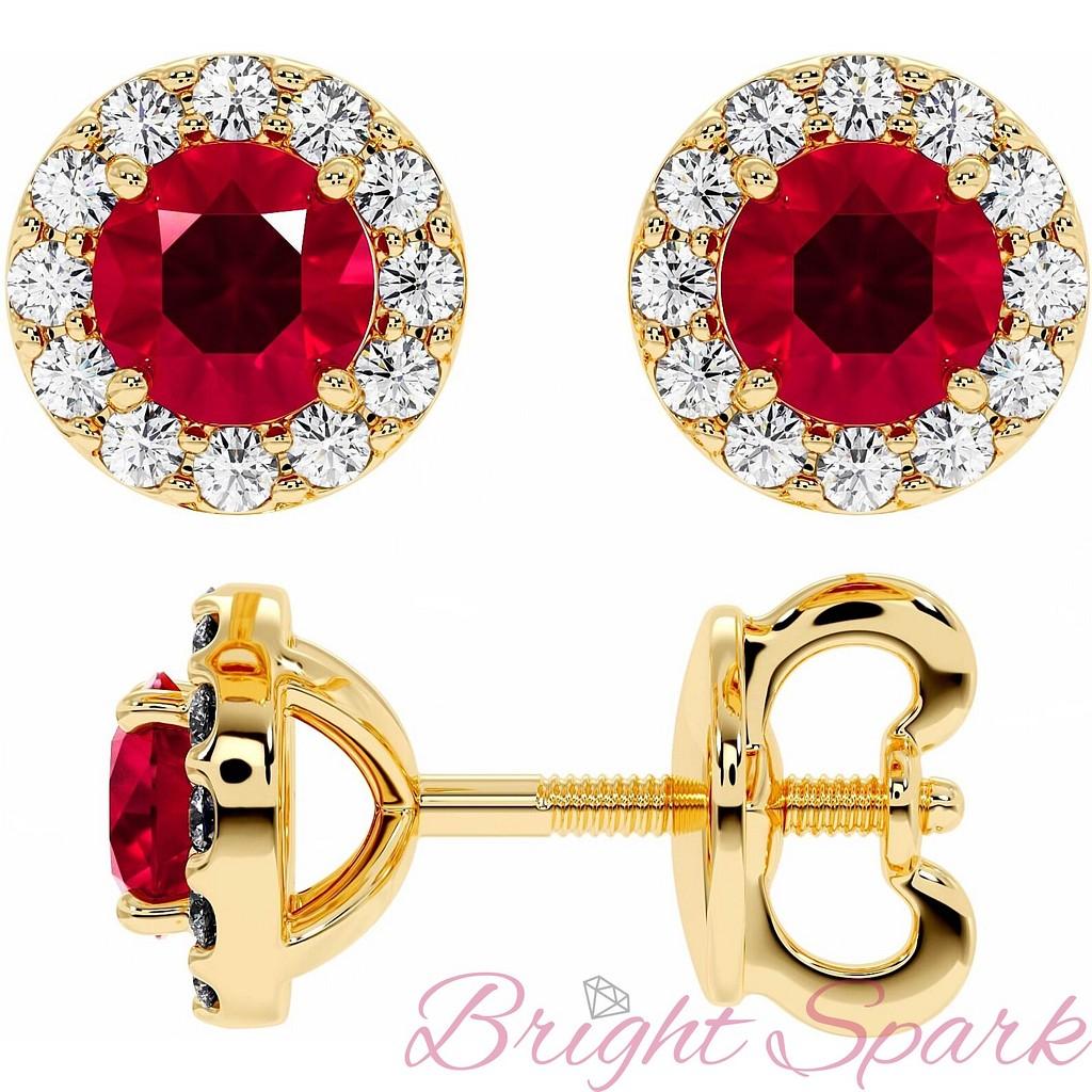 Золотые серьги-пусеты с рубином и россыпью Amalia на 1,6 карата