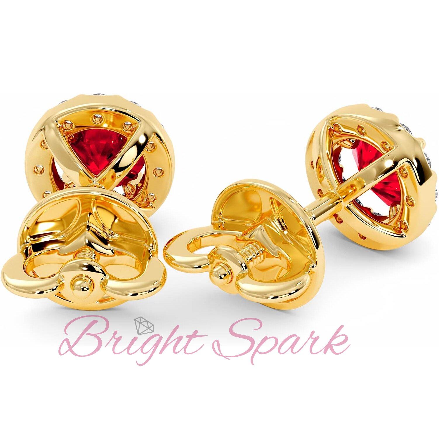 Золотые серьги-пусеты с рубином и россыпью Amalia 1,6 карата