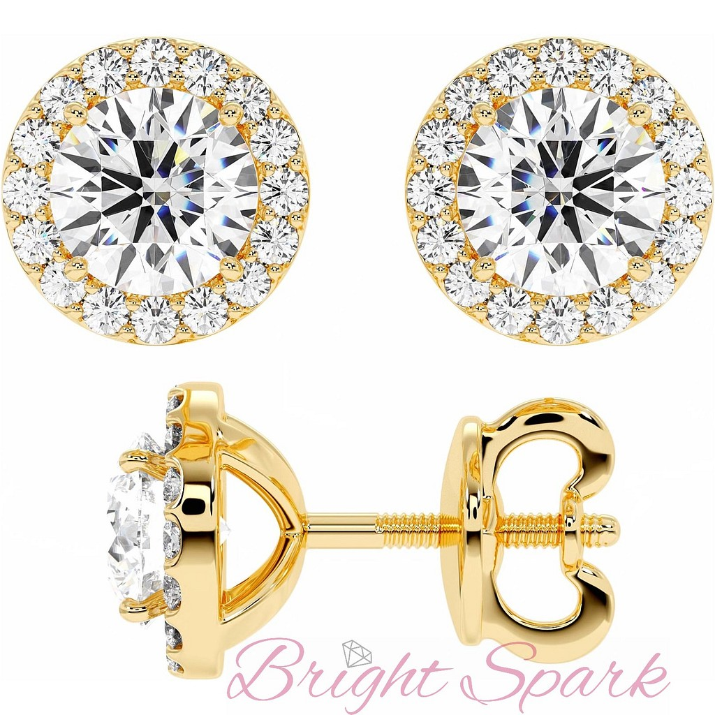 Серьги-пусеты с бриллиантом 1 карат и россыпью из желтого золота