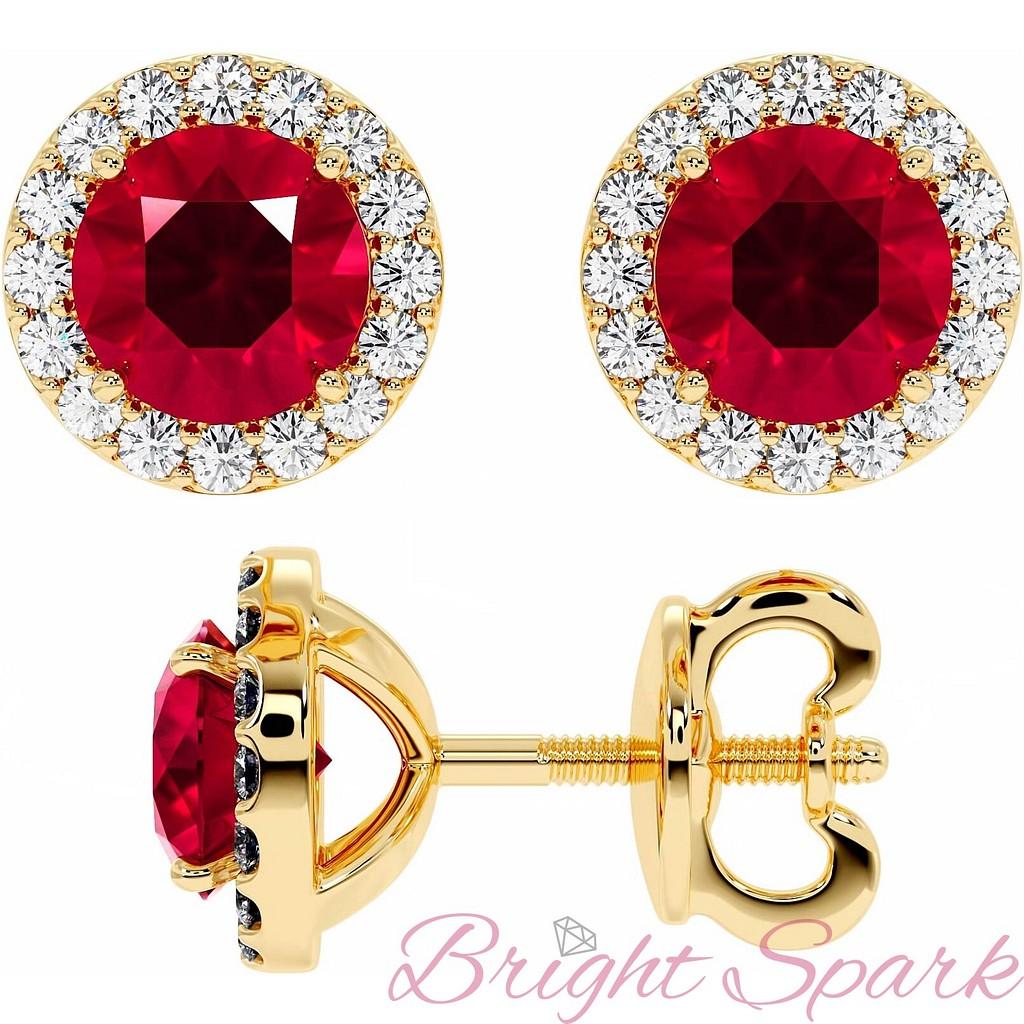 Золотые серьги-пусеты с рубином и россыпью Amalia на 3 карата