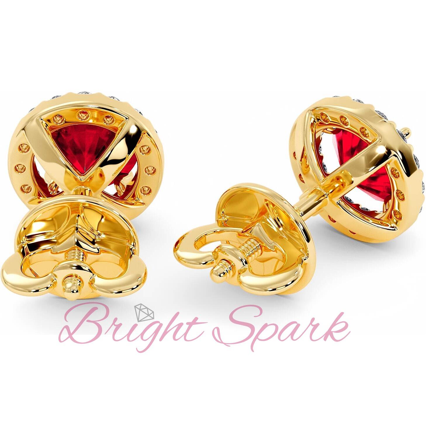 Золотые серьги-пусеты с рубином и россыпью Amalia 3 карата