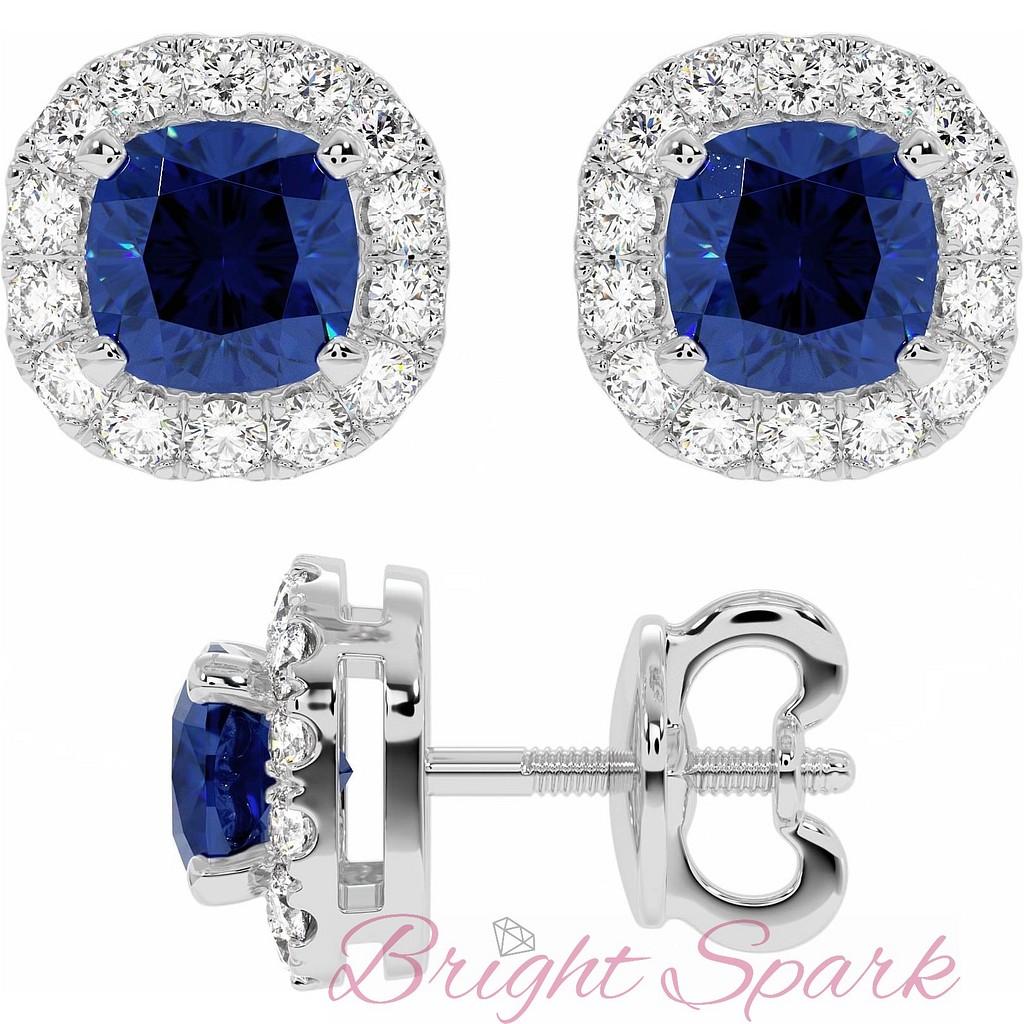 Серьги-пусеты с синими сапфирами в обрамлении бриллиантов