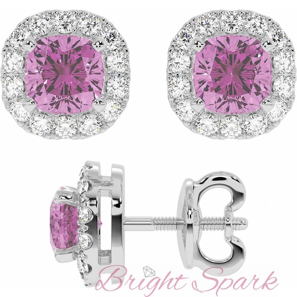 Серьги-пусеты с розовыми сапфирами в обрамлении бриллиантов