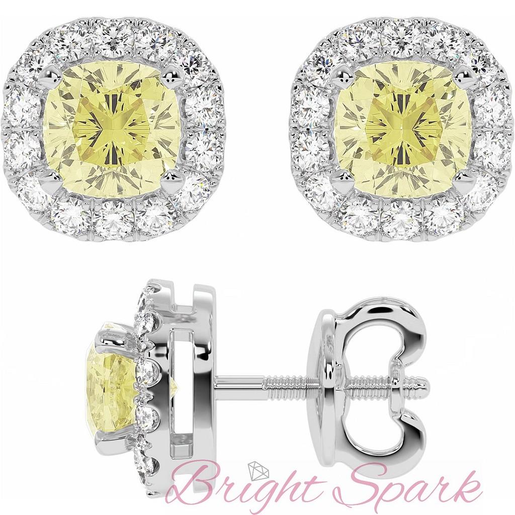 Cерьги c желтыми бриллиантами в обрамлении белых