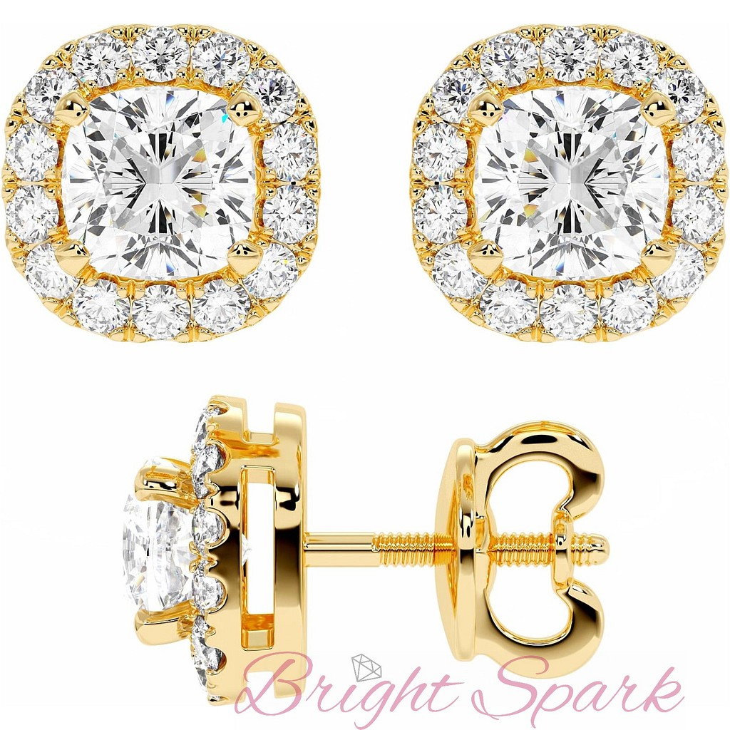 Золотые пусеты с бриллиантами кушон в обсыпке