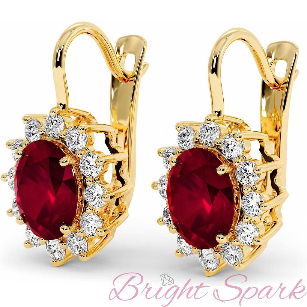 Серьги на английском замке с рубинами по 4 карата и бриллиантами