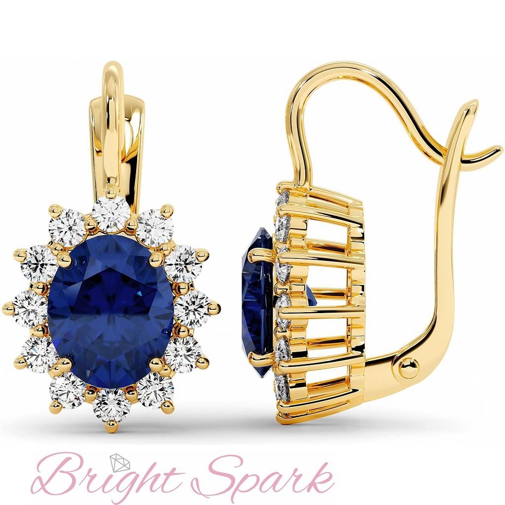 Серьги принцессы Дианы с сапфирами и бриллиантами из желтого золота