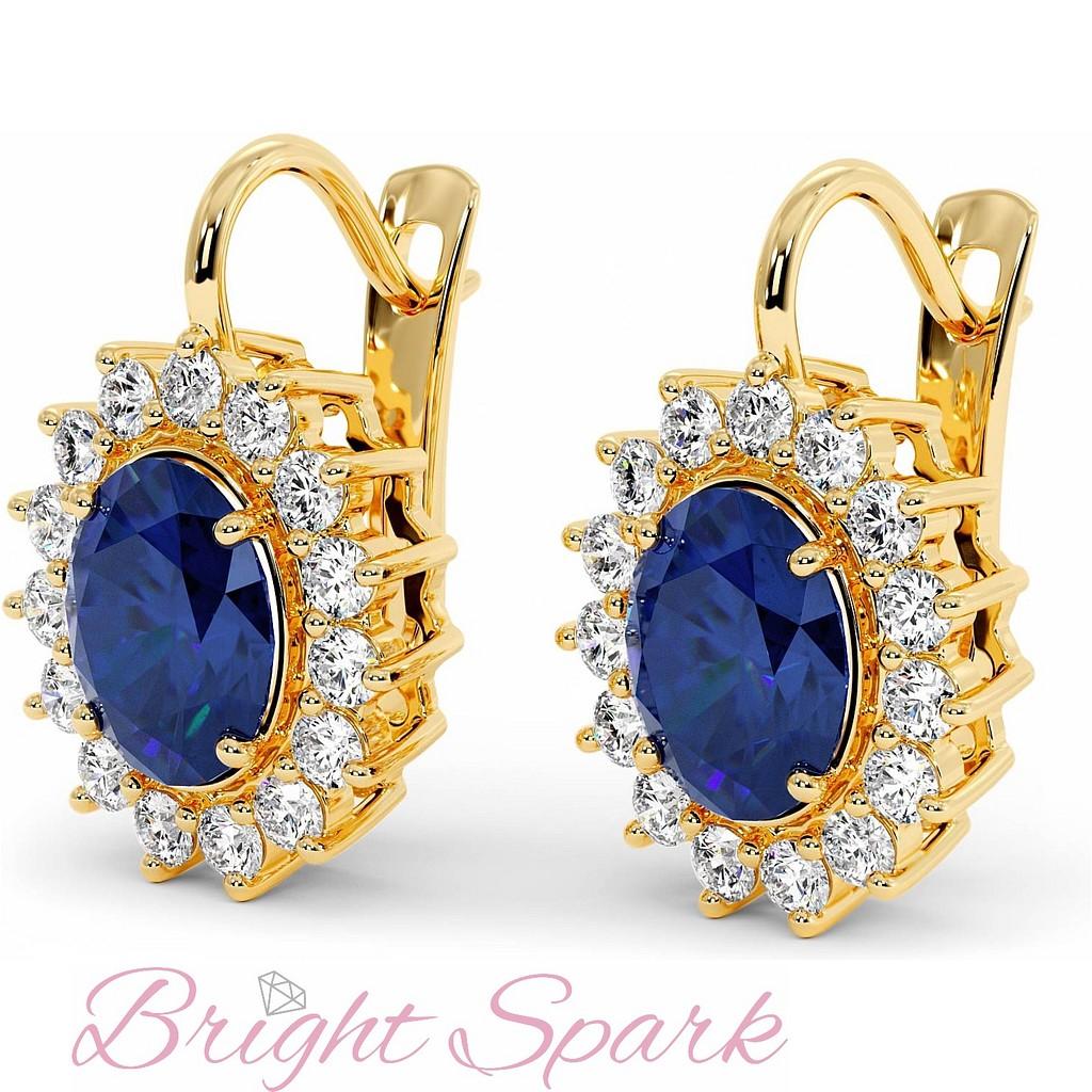 Серьги с овальными сапфирами и бриллиантами из желтого золота