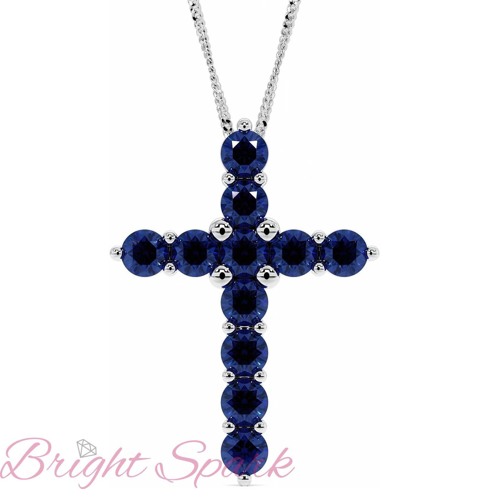 Золотой крестик в стиле Тиффани с синими сапфирами Crest 3,3 карата