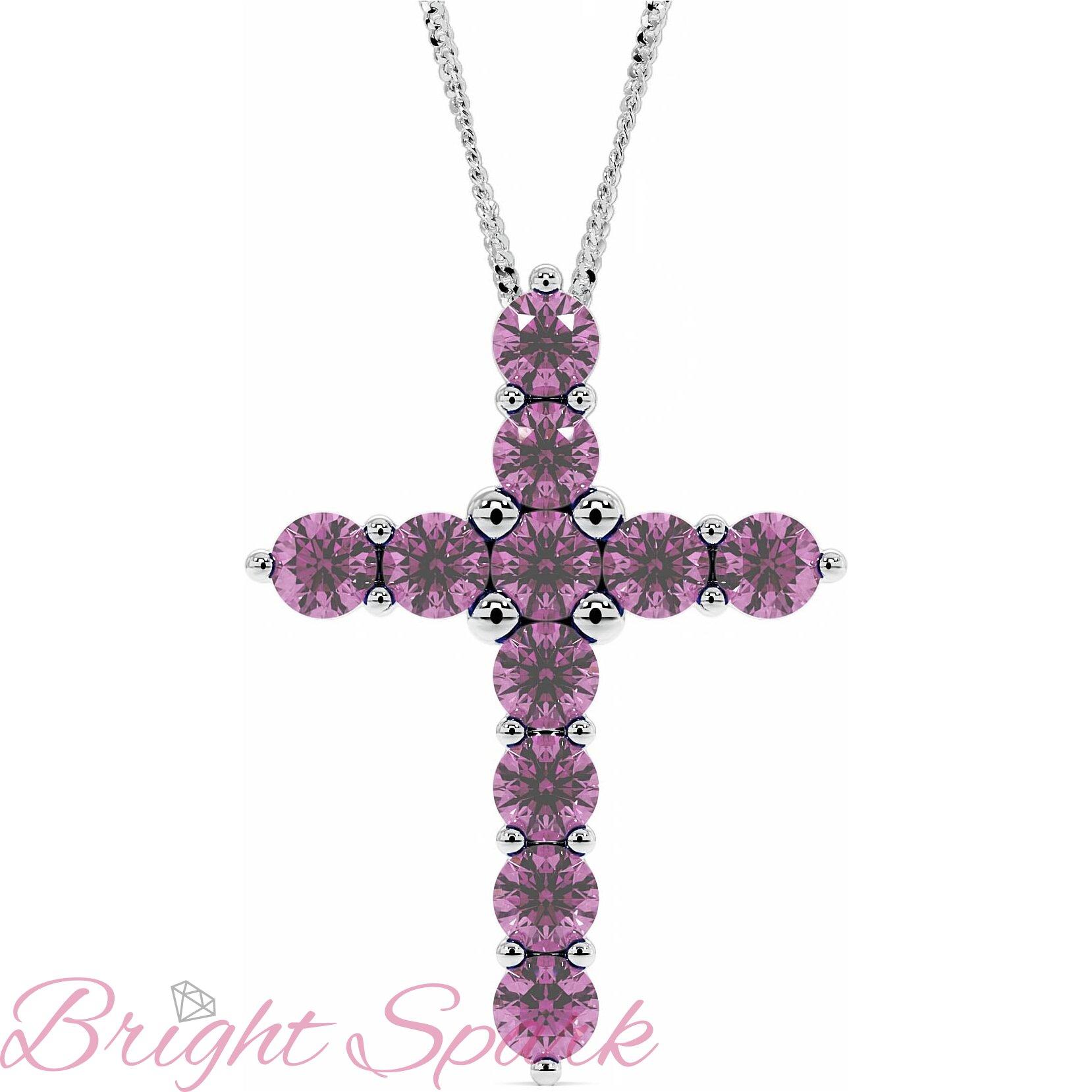 Золотой крестик в стиле Тиффани с розовыми сапфирами Crest 3,3 карата