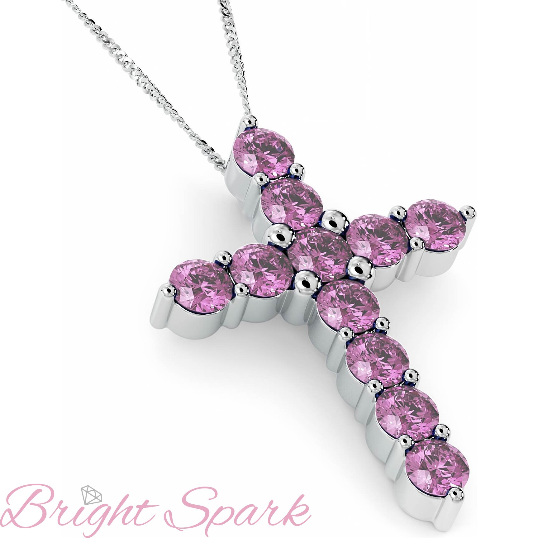 Крестик в стиле Тиффани с розовыми сапфирами Crest 3,3 карата