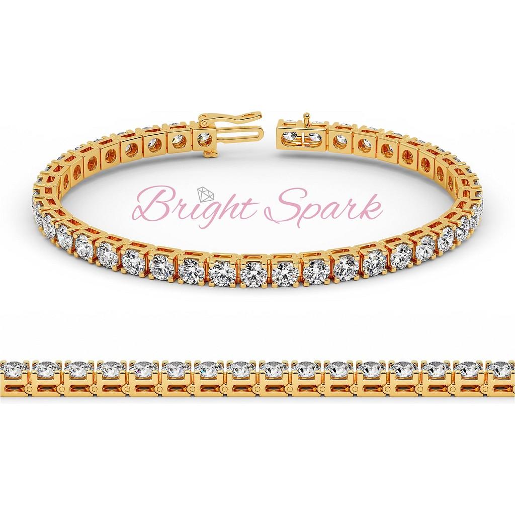 Теннисный браслет с крупными бриллиантами желтого золота