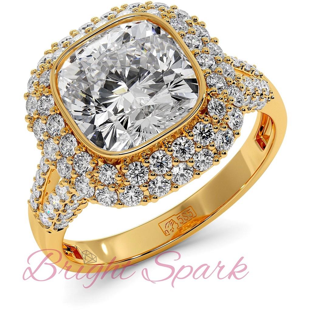 Кольцо Sharon с муассанитом 2,8 карат в желтом золоте