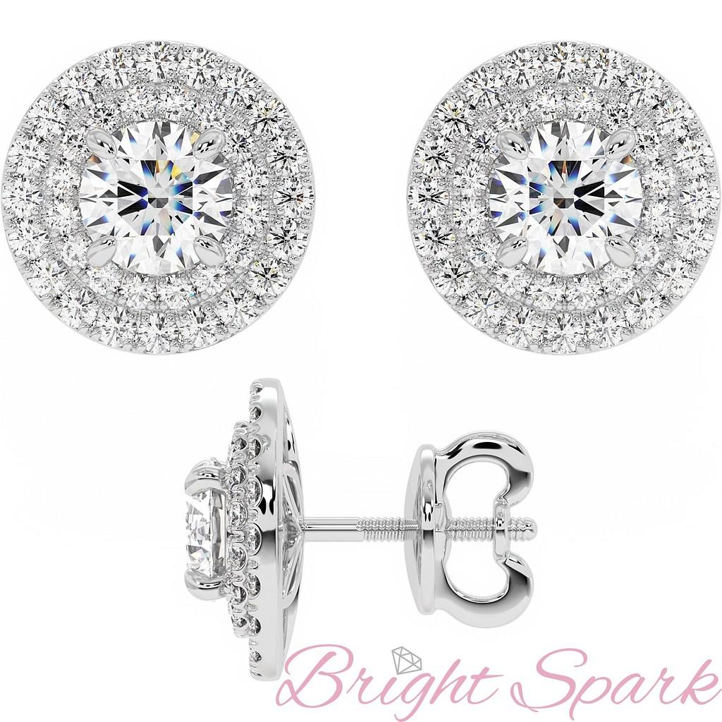 Серьги-пусеты с крупным бриллиантом и обсыпкой-ореолом