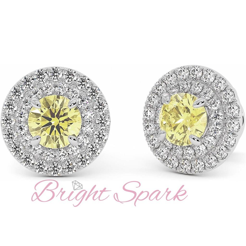 Серьги-пусеты с крупным желтым бриллиантом и обсыпкой-ореолом